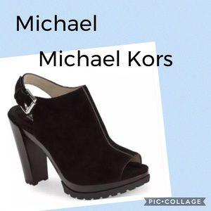 Michael Michael Kors Black Suede Platform Sandals